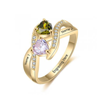 NJ509-CRI103673 Gold Plated Sterling Silver Personalized Names & Birthstones Ring
