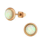 C1186-C34489 - Rose Gold Stainless Steel SN Opal Earrings 7mm