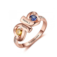 NJ514-CRI103682 Rose Gold Plated Sterling Silver Personalized Names & Birthstones Ring
