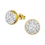 C1187-C31888 - Crystal Stones Ear Stud Earrings, Gold Stainless Steel 9mm