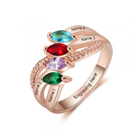 NJ517-CRI103667 Rose Gold Plated Sterling Silver Personalized Names & Birthstones Ring