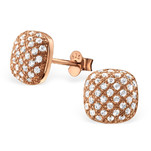 C428-C22835 - Rose Gold CZ Ear Stud Earings 9mm