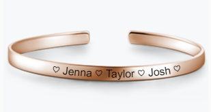 SJ2 - Rose Gold Personalized Bangle Adjustable