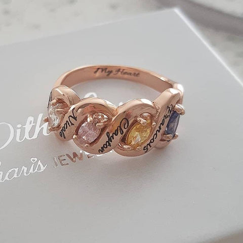 NJ522-CRI103698 - Personalized Names & Birthstones Ring, Rose Gold Plated