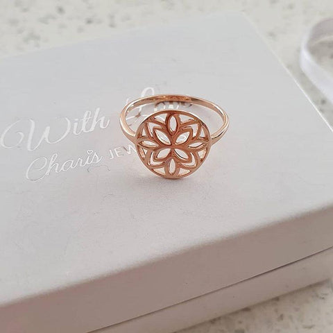 C1178-C38517 - Rose Gold 925 Sterling Silver Patterned Ring