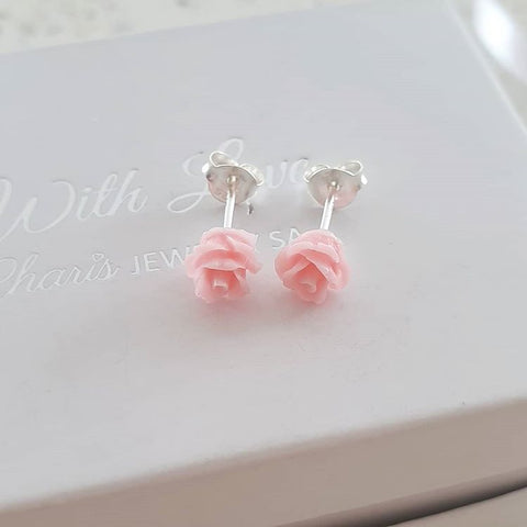 Silver pink rose earrings
