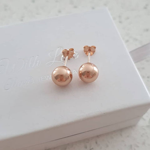 A291-C19025 - Rose Gold Ball Ear Stud Earrings, 8mm