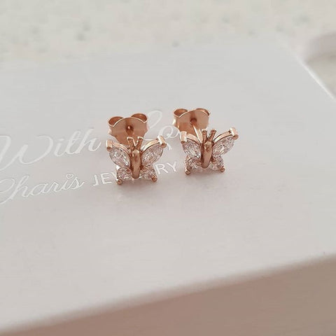 A145-C21725 - Rose Gold Plated CZ Butterfly Earrings 7x6mm