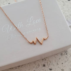 Rose gold heart beat electrocardiogram necklace