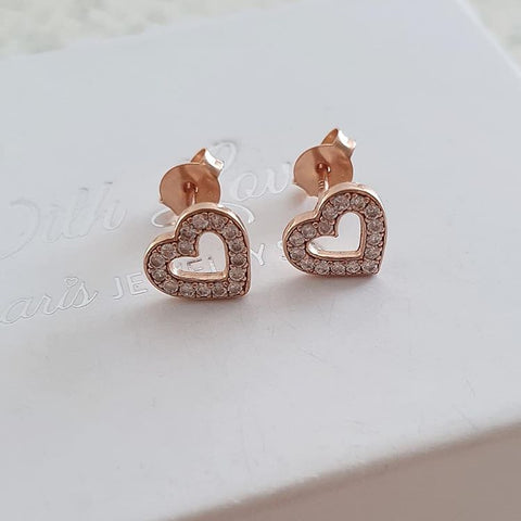 A151-C40284 - Rose Gold CZ Crystal Heart Earrings 9x8mm