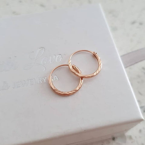 A311-C20029 - Rose Gold Plated Hoop Earrings, 1.2x12mm