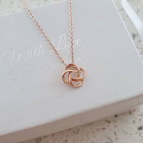 C1133-C19911 - Rose Gold Love / Friendship Knot Necklace