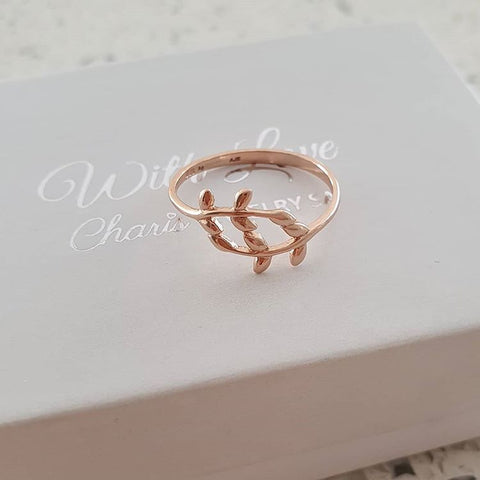 A79-C39662 - Rose Gold over Sterling Silver Leaf ring