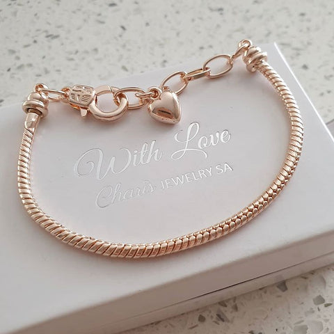 C731-CB0096104 - Rose Gold Plated European Charm Bracelet, 15-19cm adjustable