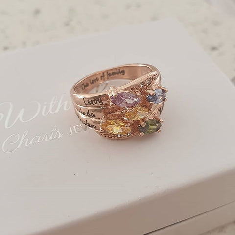NJ515-CRI103665 Rose Gold Plated Sterling Silver Personalized Names & Birthstones Ring