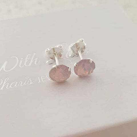 Pink swarovski crystal rose water earrings