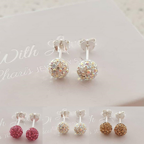 C786-C39265 - 925 Sterling Silver Crystal Round Ball Ear Stud Earrings 6mm