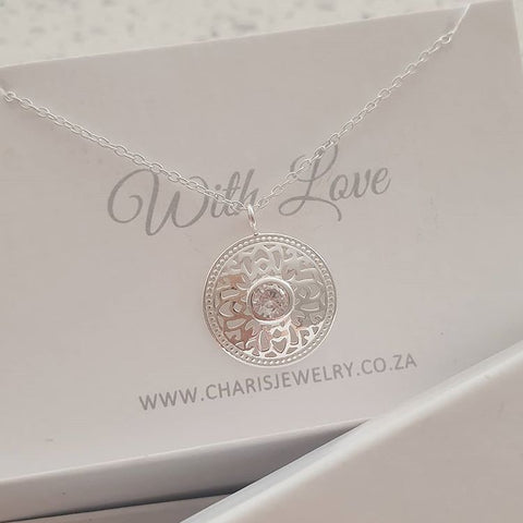 C835-C40207 - 925 Sterling Silver CZ Round Necklace, 15mm, 45cm chain