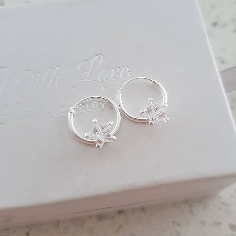 A281-C13871 - 925 Sterling Silver Round Hoop Star Earrings, 12x1.2mm