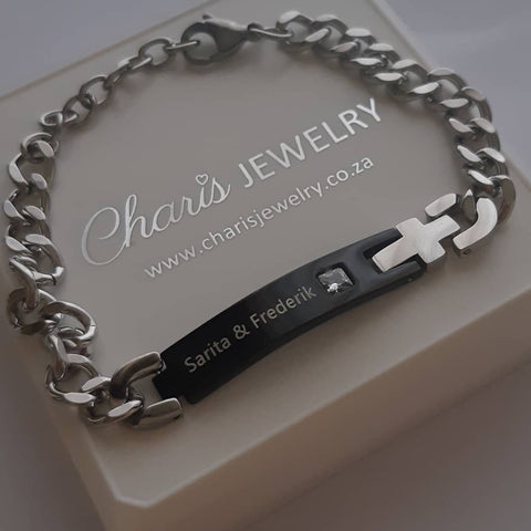 J12 - CBA101977 - Men's Personalized Words and Birthstone Stainless Steel Cross Bracelet