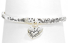187N - God is Love. Whoever lives in love lives in God and God in him 1 John 4:16 Stretch Bracelet
