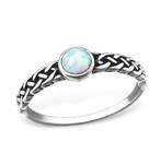 C212-C31873 - 925 Sterling Silver Braided Fire and Snow Opal Ring