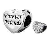 C63-C10413 - 925 Sterling Silver Forever Friends, Sparkle Heart Charm European Bead