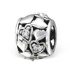 Sterling silver hearts european charm bead