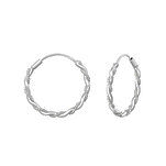 C896-C35001 - 925 Sterling Silver Twisted Hoop Earrings 18mm 1.5 thick