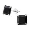C704-C11611 - 925 Sterling Silver Square Crystal Ear Stud Earrings 7mm