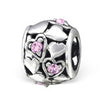 Sterling silver pink hearts european charm bead