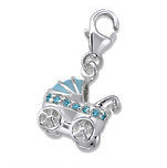 C903-C29851 - 925 Sterling Silver Baby Carriage Pram Dangle Charm
