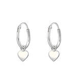 C656-C35539 - 925 Sterling Silver Hoops with Dangle Hearts 12mm