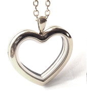 FL52 - Silver High Quality Stainless Steel Heart Locket Necklace with chain
