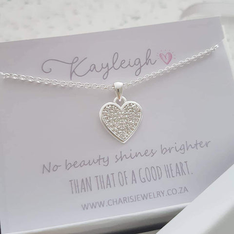 C30988 - 925 Sterling Silver CZ Heart Necklace on Personalized Card