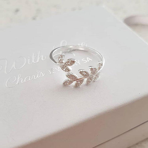 C334-C29243 - 925 Sterling Silver CZ Leaf / Branch Ring, sizes 5-10