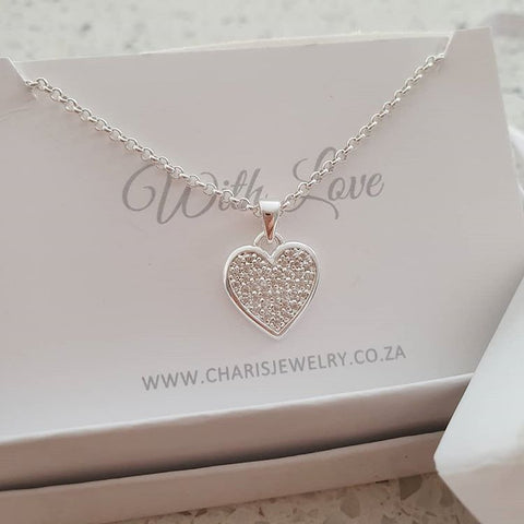 925 Sterling Silver Sparkle Heart CZ Necklace