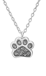 C842-C32752 - Sterling Silver Swarovski Black Diamond Crystal Paw Print Necklace