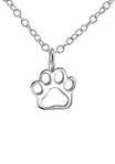 C850-C23797 - 925 Sterling Silver Paw Print Necklace