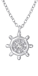 C845-C33274 - 925 Sterling Silver Ships Steering Wheel Rudder Necklace