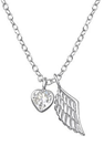925 Sterling Silver CZ Heart & Wing Necklace