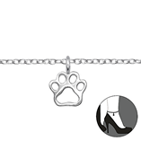 C846-C31116 - 925 Sterling Silver Paw Print Ankle Chain