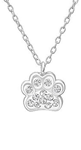 C843-C32752 - Sterling Silver Swarovski Clear Crystal Paw Print Necklace