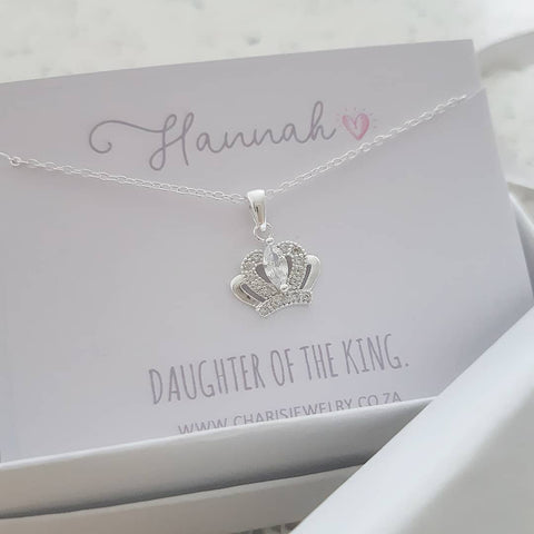 C36865 - 925 Sterling Silver Crown Necklace on Personalized Card.