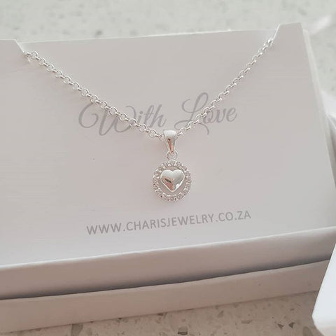 C36742 - 925 Sterling Silver Heart Necklace