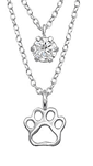 C841-C33005 - 925 Sterling Silver Paw with CZ Stone Necklace
