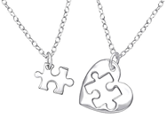 851bfc4e2d09c C707-C36226 - 925 Sterling Silver Heart Puzzle Piece Necklace set