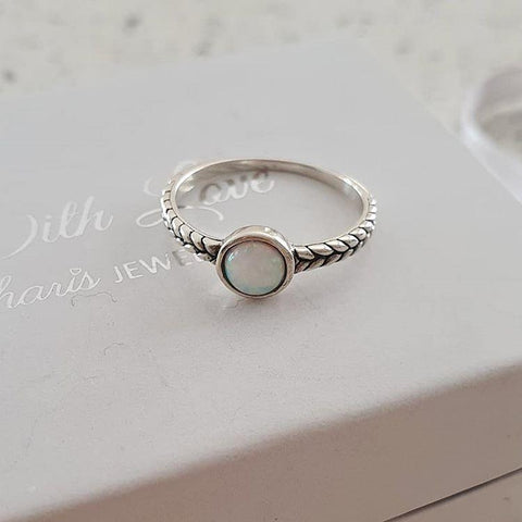 Silver synthetic opal stone ring