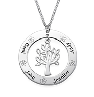 N123 - 925 Sterling Silver Personalized Family Names Tree Necklace