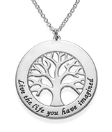 N119 - 925 Sterling Silver Tree Necklace Personalized with any names or wording